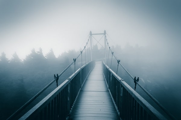 a bridge with trees and fog in the background
