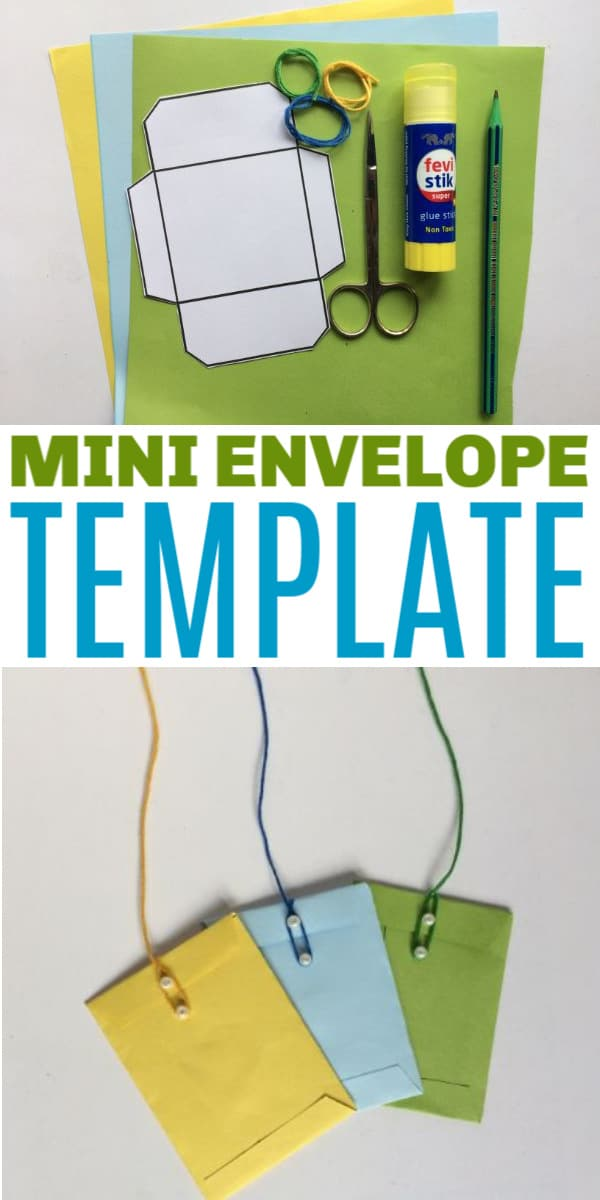 a collage of yellow, blue and green mini envelopes on a white background and a mini envelope template on colored paper next to scissors, glue and a pen with title text reading Mini Envelope Template