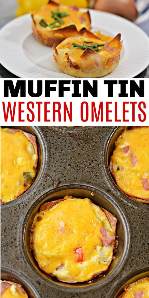 a collage of Muffin Tin Western Omelets on a white plate with a pepper, onion and cheese in the background, or in a muffin tin with title text reading Muffin Tin Western Omelets