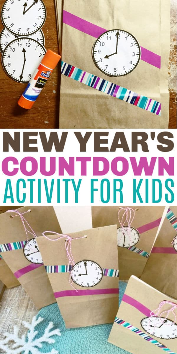 a collage of paper bags with clock faces on them with title text New Year's countdown activity for kids