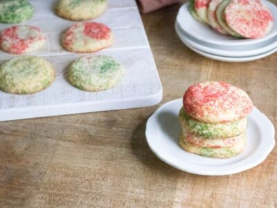 peppermint snickerdoodle cookies on a platter and on a plate