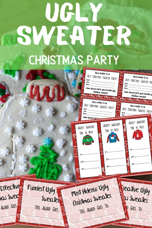 Ugly Sweater Party Printables next to a sugar cookie decorated like an ugly sweater with title text reading Ugly Sweater Christmas Party