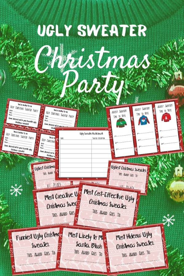Ugly Sweater Party Printables on a green Christmas sweater background with title text reading Ugly Sweater Christmas Party
