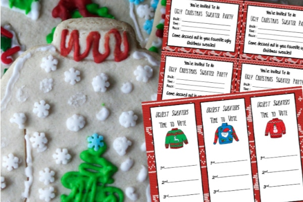 Ugly Sweater Party Printables next to a sugar cookie decorated to look like a christmas sweater