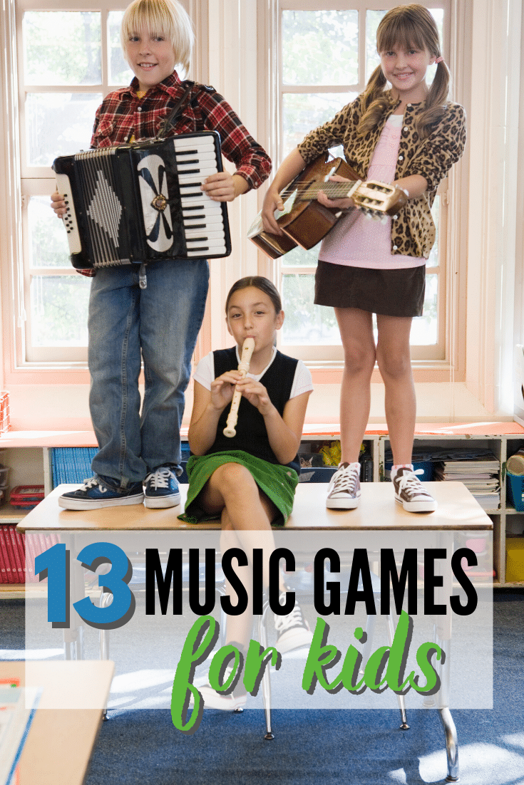 3 kids standing or sitting on a table playing an accordian, guitar, recorder with a classroom bookshelf and windows in the background with title text reading 13 Music Games for kids