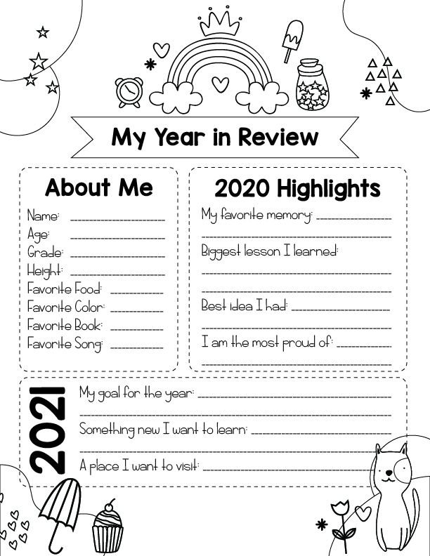 black and white version of the free printable year in review for kids