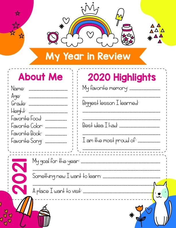 colorful version of the free printable year in review for kids