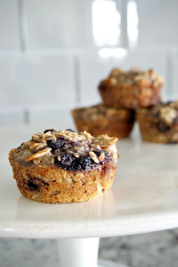 blueberry almond baked oatmeal cups on counter