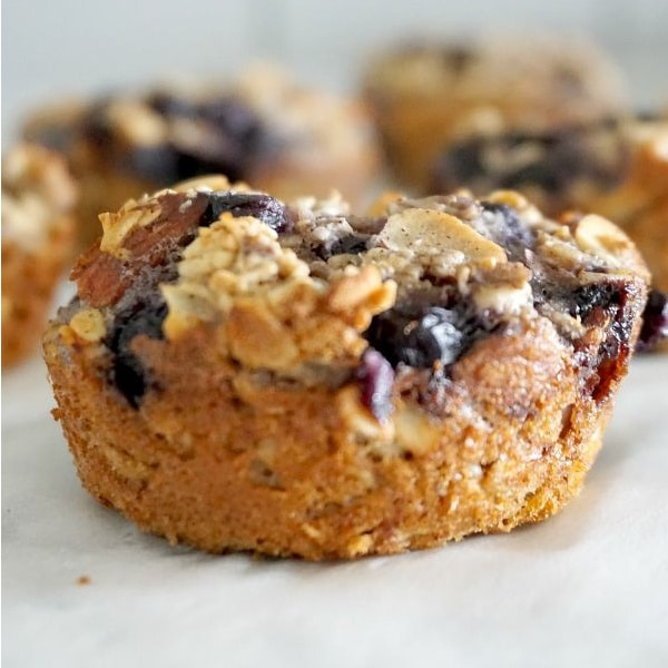 close up of blueberry almond baked oatmeal cups