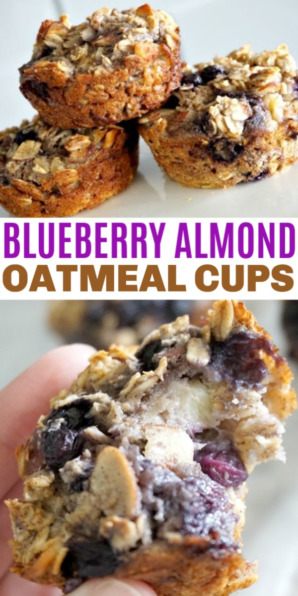 a collage of blueberry almond baked oatmeal cups with title text reading Blueberry Almond Oatmeal Cups