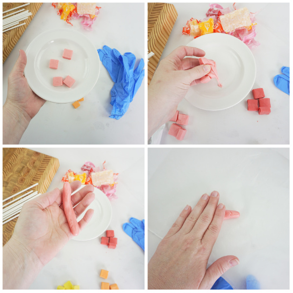 a collage of how to make candy unicorn horns and roll them out