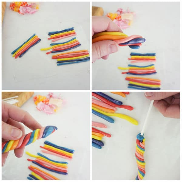 a collage of making Candy Unicorn Horns