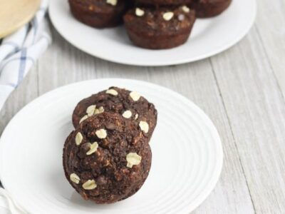 easy Chocolate Banana Oat Chocolate Chip Muffins