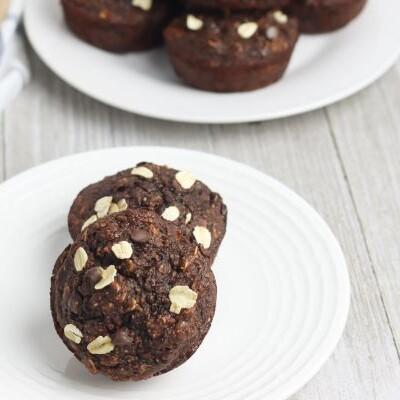 easy Chocolate Banana Oat Chocolate Chip Muffins