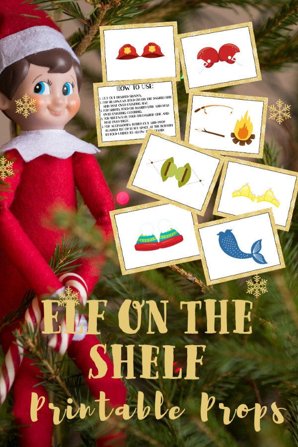 Elf on the Shelf printable props, an elf doll, a christmas tree with title text reading Elf on the Shelf Printable Props