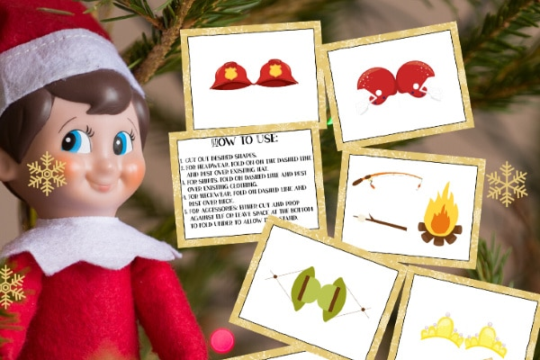 Elf on the Shelf printable props, an elf doll, a christmas tree