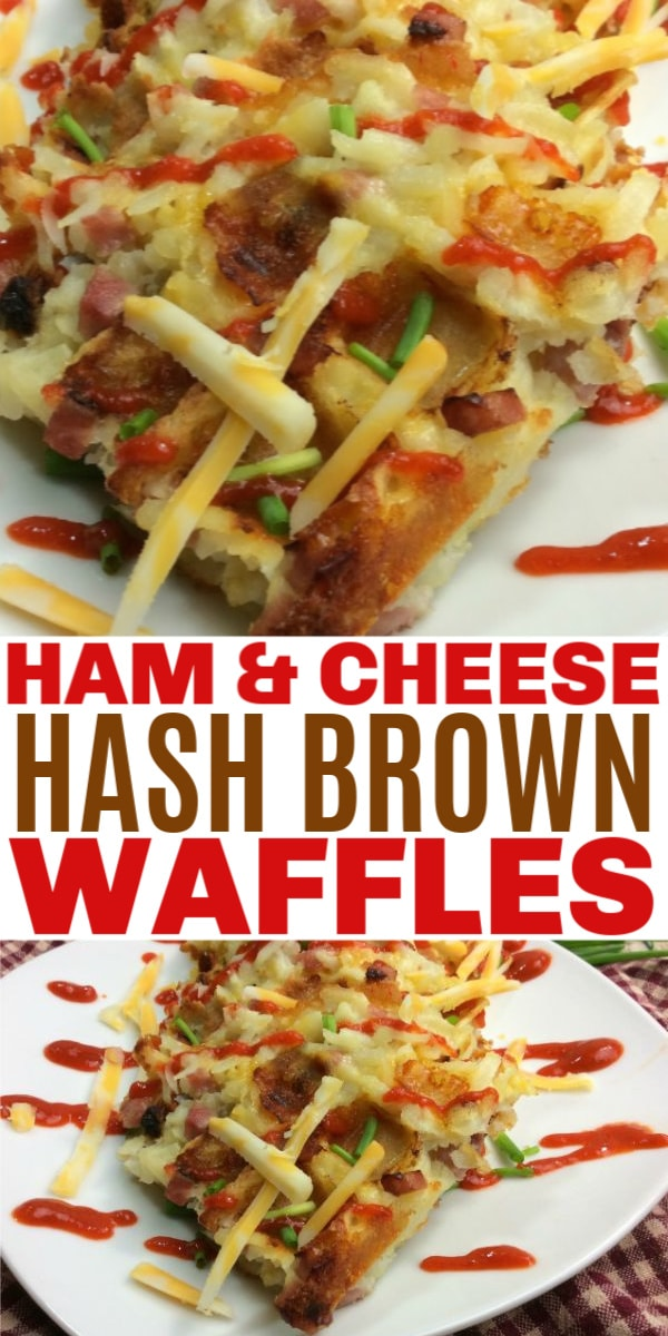 Ham and Cheese Hash Brown Waffles are packed full of ham, hash browns, eggs and cheese. These make an excellent breakfast and are easy to make. #waffles #wafflemaker #hashbrowns #breakfast via @wondermomwannab