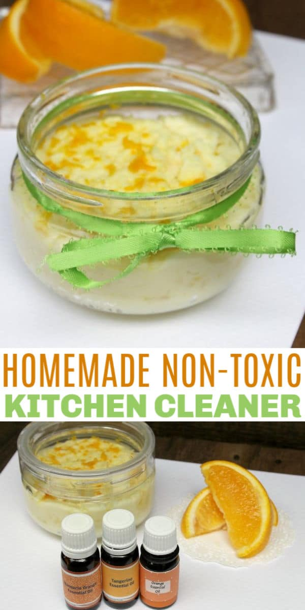 It is so easy to make this homemade kitchen cleaner. Knowing you are using a non-toxic kitchen cleaner makes you feel good and it is done in minutes. #essentialoils #homemadecleaner #diy via @wondermomwannab