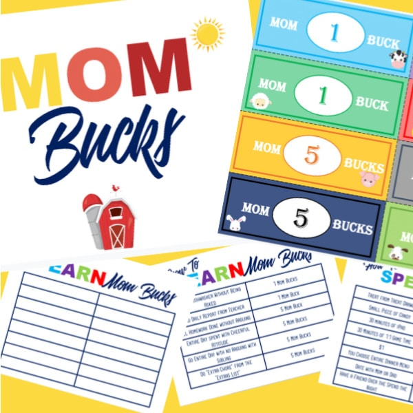 printable Mom Bucks and charts on a yellow background
