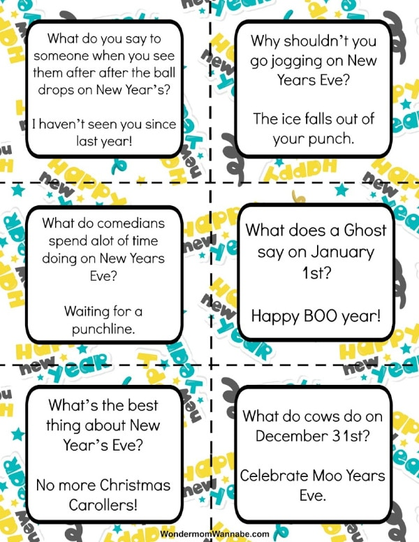 printable New Year Lunch Box Jokes for Kids