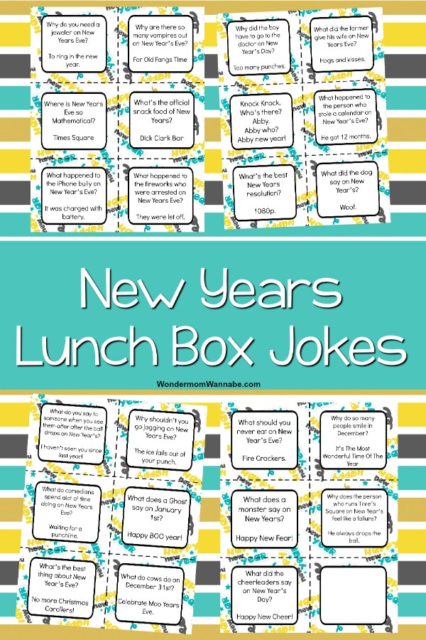 Your child will love getting printable New Year Lunch Box Jokes for Kids in their lunch pail every day at school. New Year themed jokes keep kids laughing. #printables #lunchboxnotes #newyears via @wondermomwannab