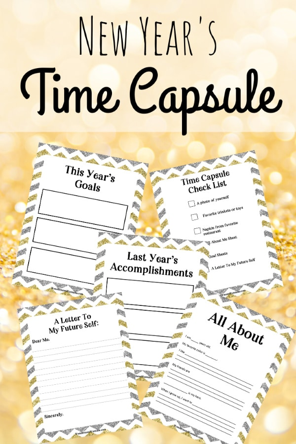 A New Year Time Capsule Box is a great family activity and tradition to start. These free time capsule box printables make it fun and easy to do. #printables #newyearseve #timecapsule via @wondermomwannab