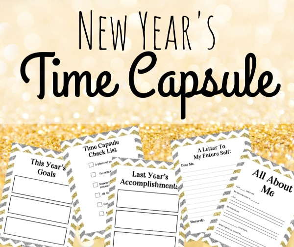 New Year Time Capsule Box printables on a gold background with title text reading New Year's Time Capsule
