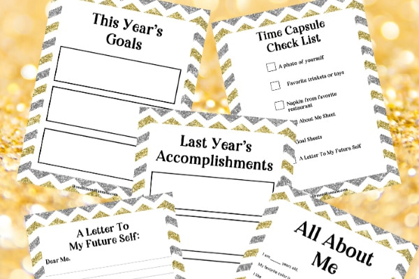 New Year Time Capsule Box printables on a gold background