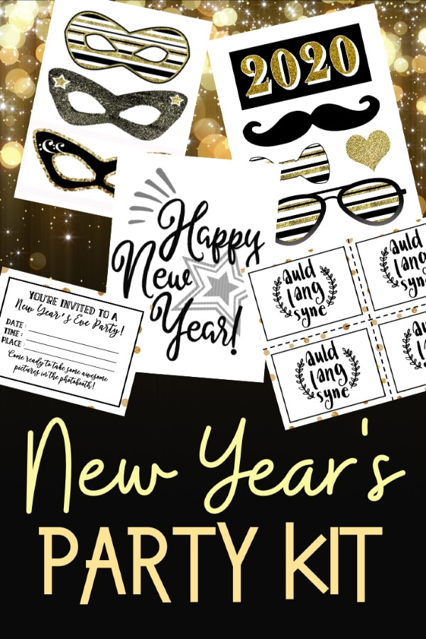 printables on a gold and black background with title text reading New Year's Party Kit
