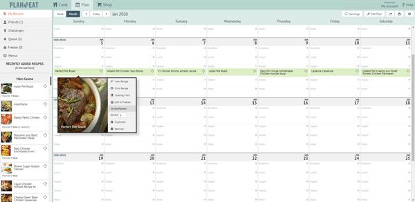 screenshot of a menu plan