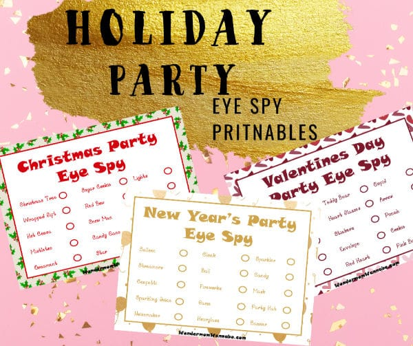 3 Printable I Spy Games for Winter Holidays, Christmas, New Year's, and Valentines Day on a pink background with title text reading Holiday Party Eye Spy Printables
