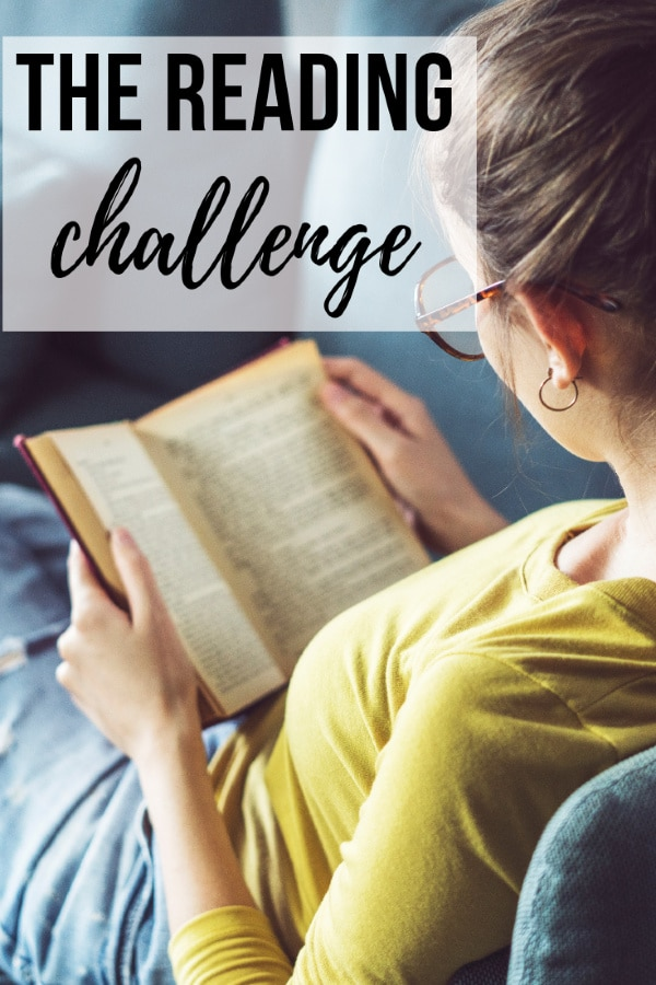 a woman reading a book with title text reading The Reading Challenge