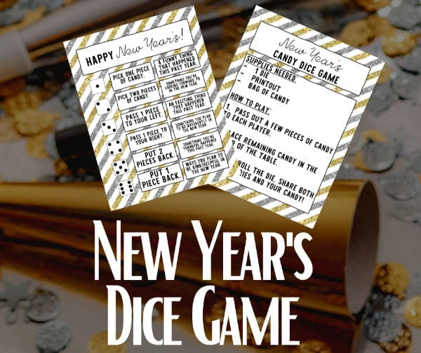 printablenew year dice game for kids with title text reading New Year's Dice Game with party horns and confetti in the background