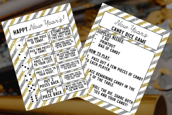 printable new year dice game for kids with party horns and confetti in the background