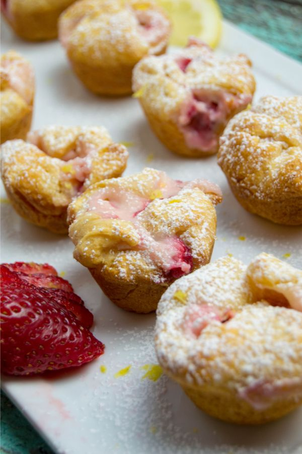 Strawberry Cheesecake Puffs on a white plate