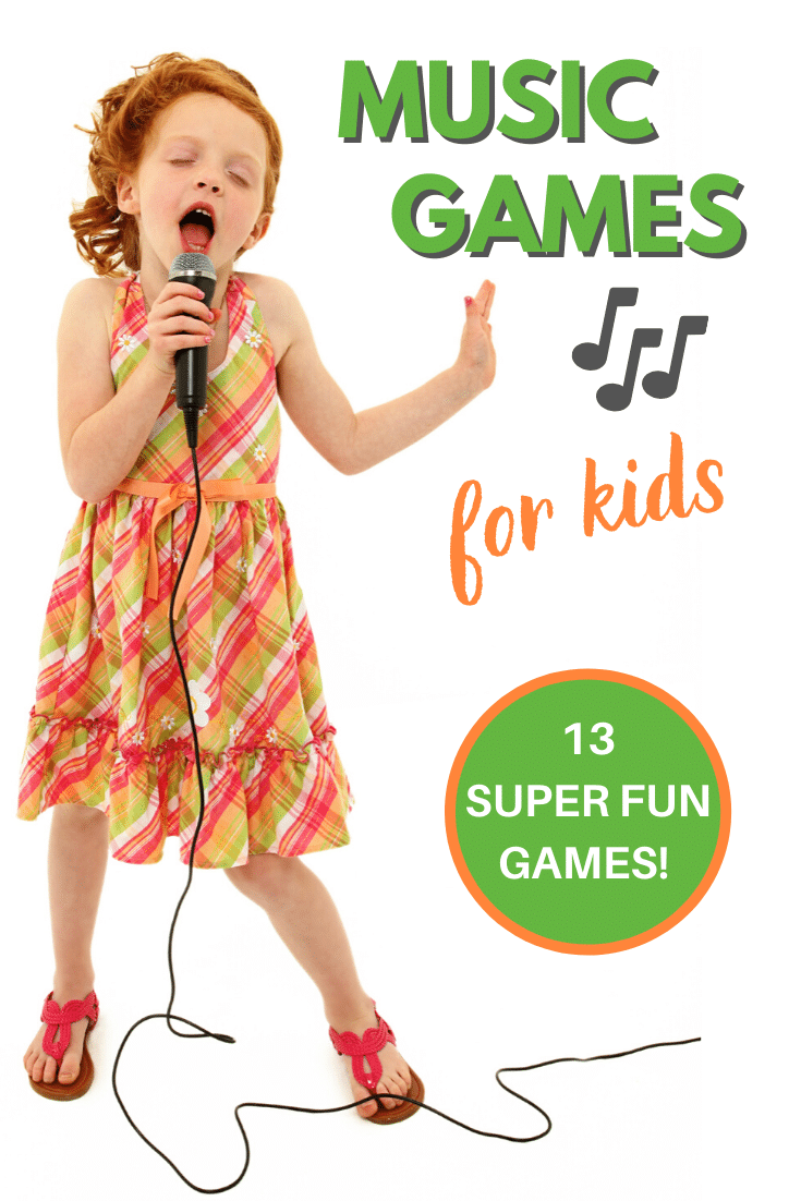a girl singing into a microphone on a white background with title text reading Music Games for kids 13 super fun games
