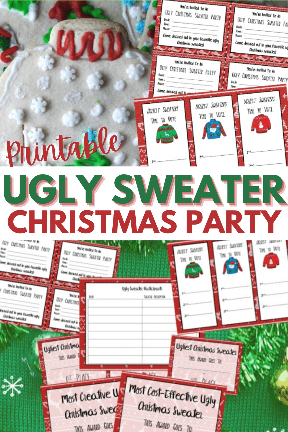 These Ugly Sweater Party Printables will make your Ugly Christmas Sweater Party a blast and easy to throw. Printable invitations, voting cards and awards. #uglysweatercontest #christmas #printables via @wondermomwannab