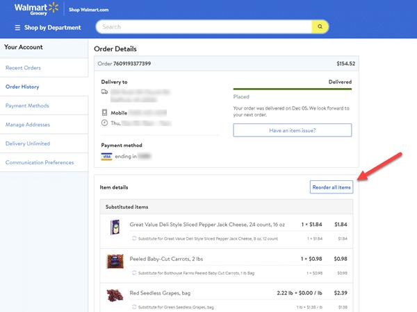 screenshot of an online grocery order from Walmart