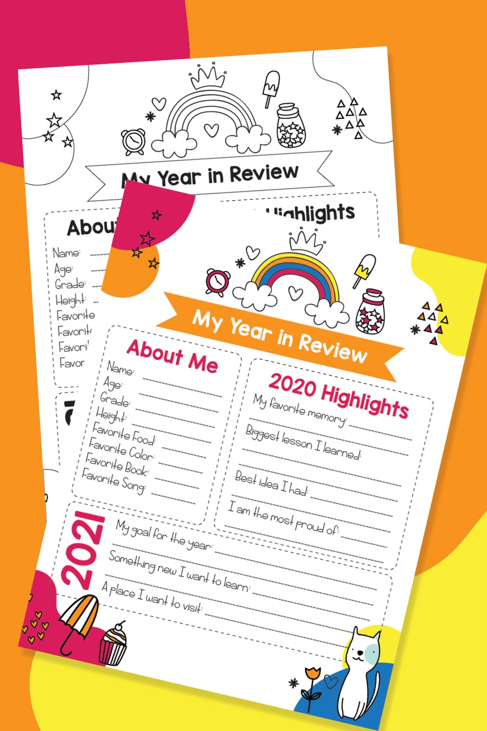 This free printable Year in Review for kids is a wonderful keepsake and a fun New Year's Eve family activity to reflect on the past year. #newyearseve #kidsactivities #freeprintable #yearinreview via @wondermomwannab