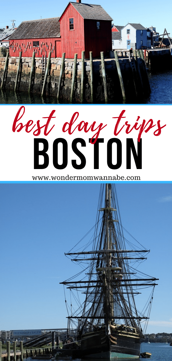 a collage of two places to visit in Boston with title text reading Best Day Trips Boston