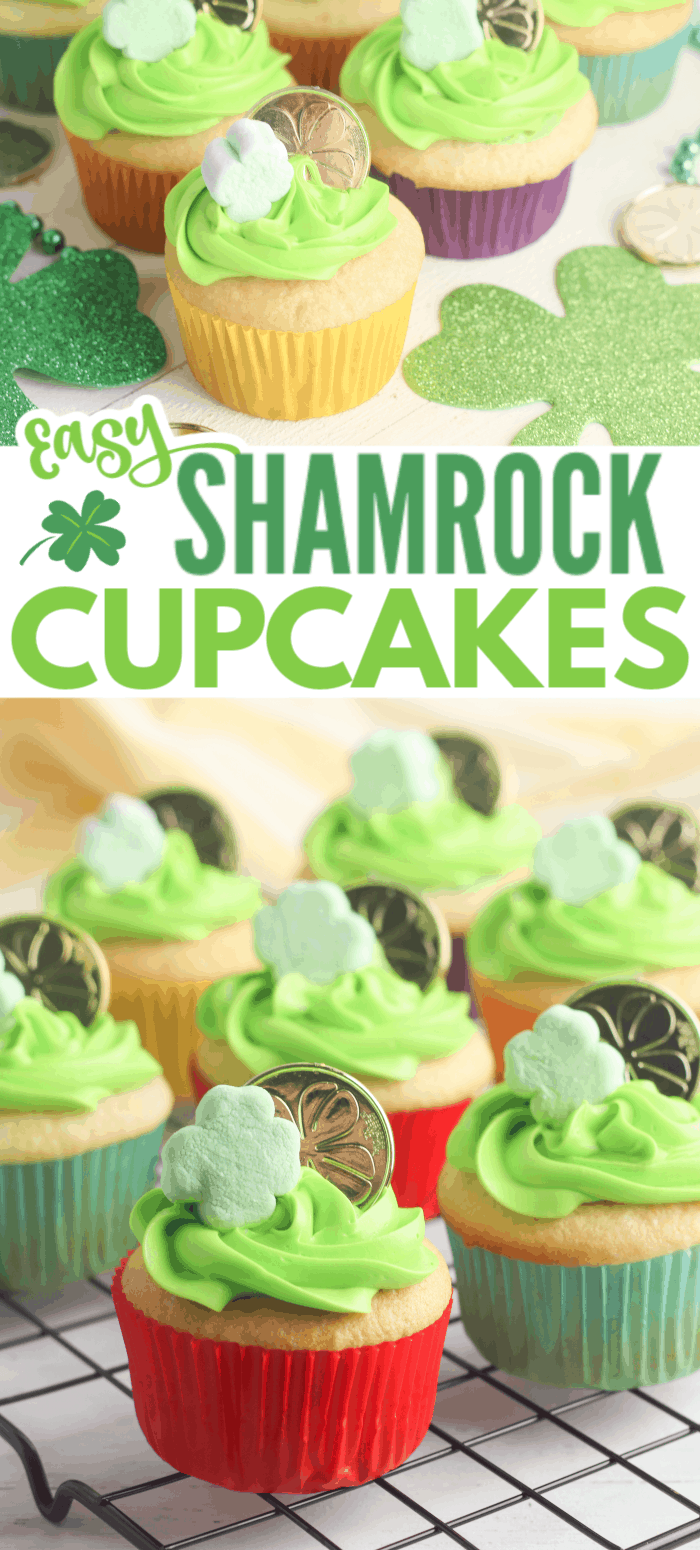 These Easy Shamrock Cupcakes are sure to satisfy the most mischievous of leprechauns. Anyone who gets to enjoy one will certainly feel lucky! #stpatricksday #shamrock #cupcakes via @wondermomwannab