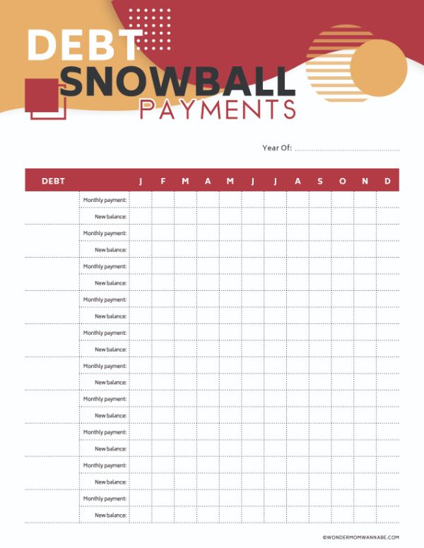 Free Printable Debt Snowball Payments Worksheet