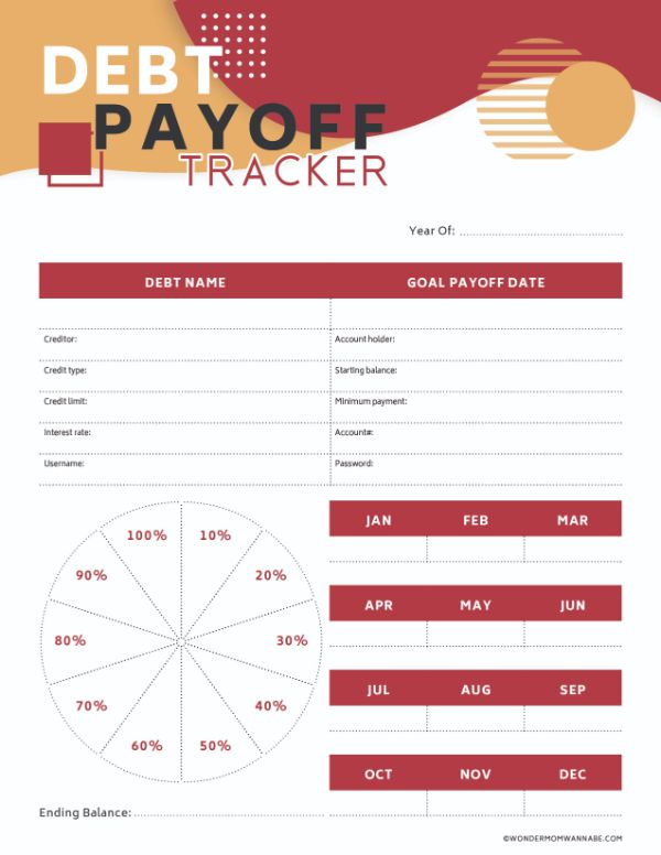 Free Printable Debt Payoff Tracker Worksheet
