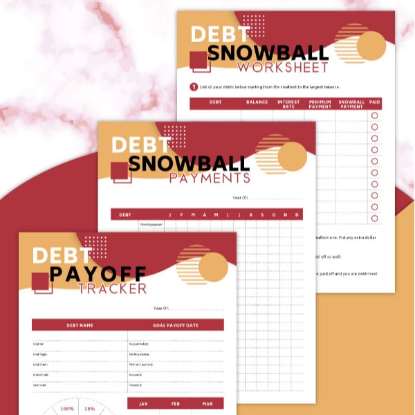 Free Printable Debt Snowball Worksheets for payments and a tracker on a red, white and orange background