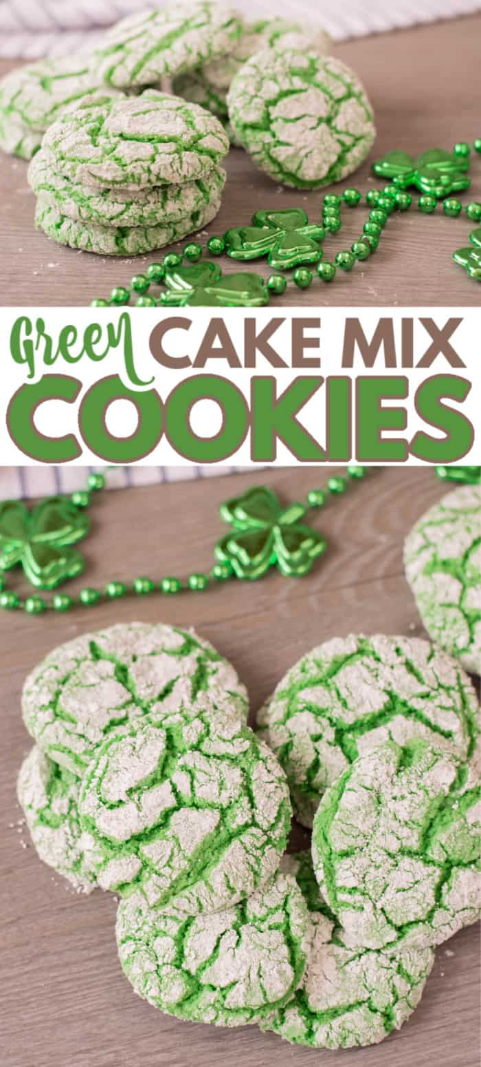 These Green Cake Mix Cookies make a festive addition to celebrations like Dr. Seuss Day, St. Patrick's Day and Christmas. The best part is you can keep the ingredients on hand so you can whip them up easily. #greencookies #drseuss #stpatricksday #christmas via @wondermomwannab