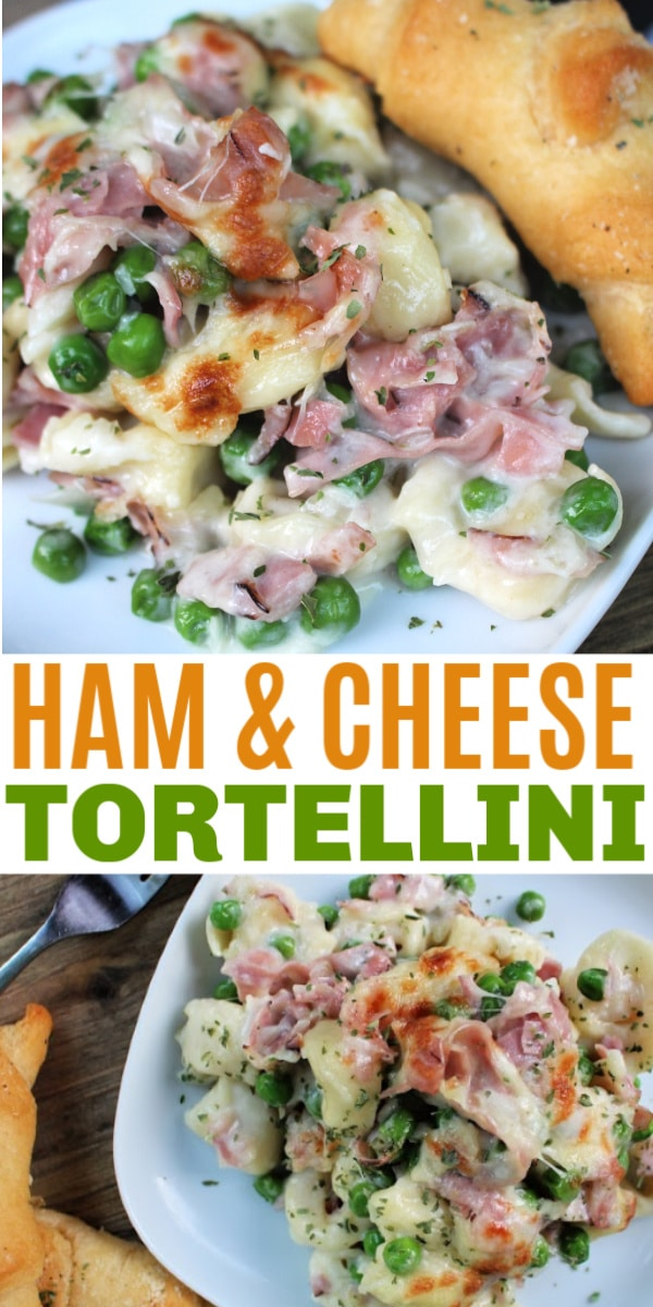 This family-friendly Ham and Cheese Tortellini casserole dinner recipe is quick and easy to make. This flavorful dish will become a family favorite. #tortellini #ham #easydinnerideas via @wondermomwannab