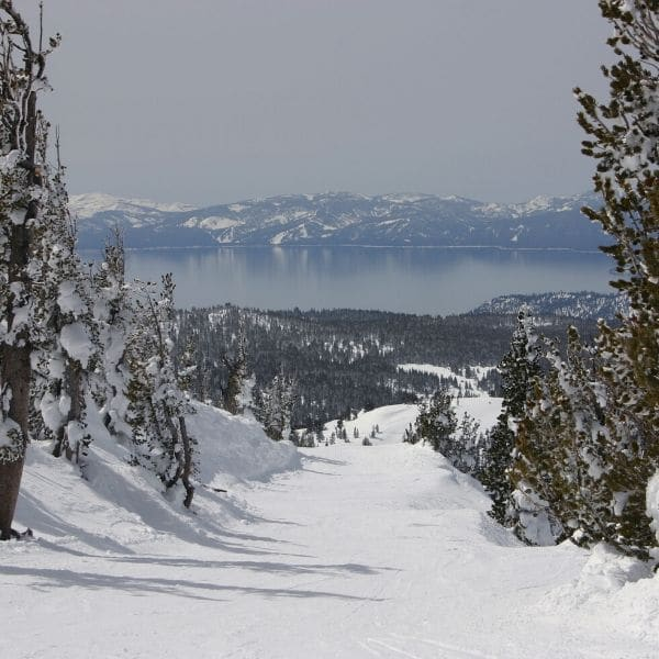 snowy mountains with a lake and more mountains in the background in Lake Tahoe, California