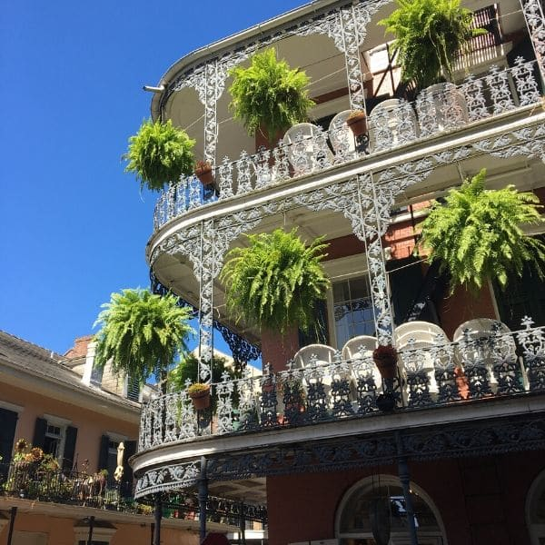 a fancy building in New Orleans with plants hanging from the balconies