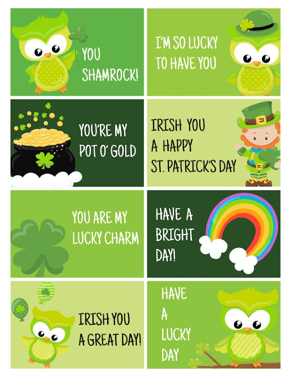 printable St. Patrick's Day Lunch Notes for Kids