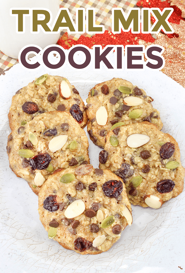 Are you looking for an easy healthy snack the kids will actually eat? Well, you will love this recipe for trail mix cookies! They're the perfect simple oatmeal cookie - chewy, healthy, and a dessert food you can feel good about. #healthysnack #easyrecipe #kidapproved #trailmixrecipe #oatmealcookies via @wondermomwannab